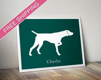 Personalized German Shorthaired Pointer Silhouette Print with Custom Name (version 2) - dog art, dog gift, dog poster
