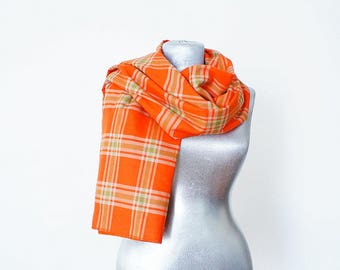 Throw Blanket Orange Blanket Scarf Large Scarf Scarf Plaid Scarf Tartan Scarf Winter Scarf Orange Blue Scarf