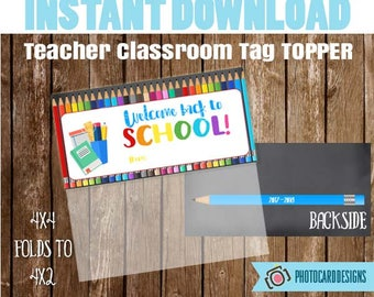 Welcome Back to SCHoOL Treat Bag Topper, Teacher Class Printable, School Printable, Welcome Back to School Tag, Treat Bag, INSTANT DOWNLOAD