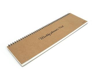 Weekly Scheduler planner calendar scrapbook notebook simply desk note - Kraft / White