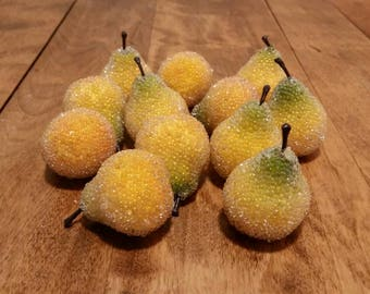 Vintage Jeweled Fruit, Artificial Pears, Beaded Fruit, Vintage Iced Fruit Centerpiece