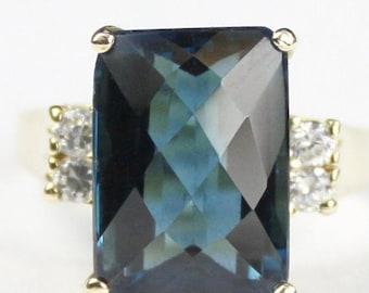On Sale, 30%Off, London Blue Topaz, 10KY Gold Ring, R201