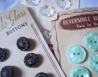 Three Cards of Vintage Buttons