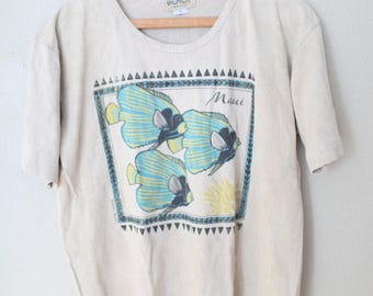 vintage 1980s tan maui slouchy cropped t shirt