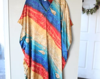 vintage turquoise red & gold  bohemian tunic caftan dress