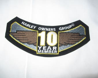 Harley Davidson Motorcycle Patch!......H.O.G. Harley Owner's Group 10 year member.....Ready to sew on that Jacket!!