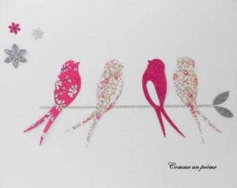 Applied fusible swallows, birds lucky liberty eloise pink!