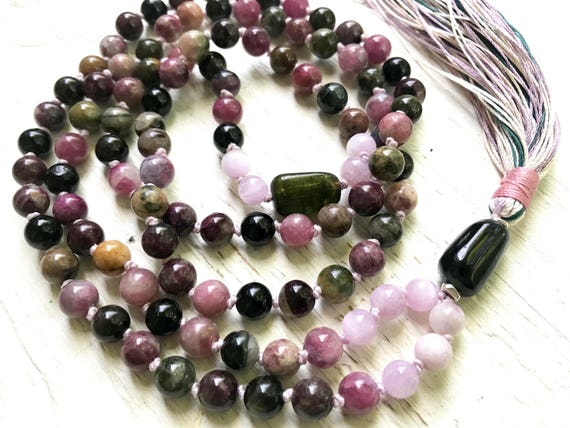 Tourmaline Mala Beads, Kynzite, Heart Chakra Mala, Tourmaline Tassel Necklace, October Birthstone, Healing Mala, Meditation Yoga Jewelry