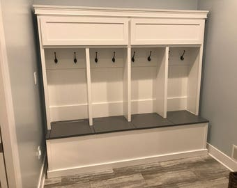 Entryway lockers with storage under seating