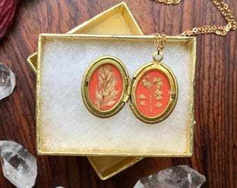 vintage brass locket // unique gift // real pressed plants // pepperweed // made in vermont