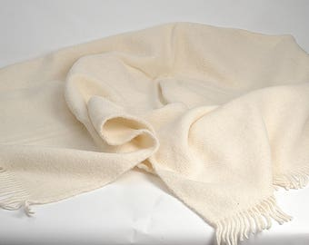 Pure Wool blanket with fringes Milk White Wool blanket Milk White lambswool Pure wool throws Wool throw 55''X81''/140X205cm Perfect gift