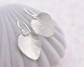 Silver Heart Earrings, Silver Earrings, Silver Leaf Earrings, Silver Jewelry, Textured Leaf Silver Earrings, Hammered Earrings Gift For her
