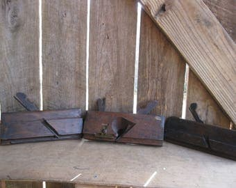 Lot of 3 Antique Wood Molding Planes