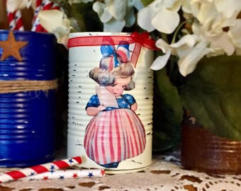 Victorian Girl Americana Rustic Tin Can Vase Patriotic Party Decor Flag Memorial Independence Day 4th of July American SUMMER OUTDOORS Decor