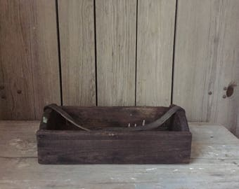 primitive wood tray, wood box with leather handle