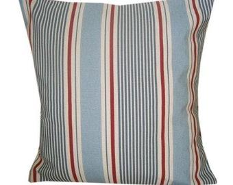 Designer sailor stripe boat blue red nautical vintage seaside summer cushion cover