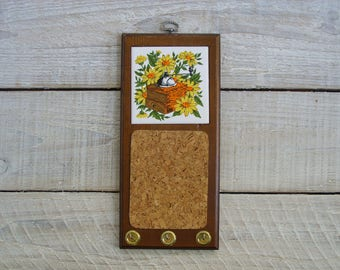vintage message center cork board memo note holder key hook hanger storage wood - Cork Board Tiles