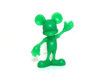 Vintage 70s Marx Mickey Mouse green plastic figure toy 1971