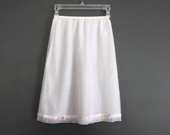 Vintage slip skirt vanity fair pink polka dot grunge lace ribbon bows