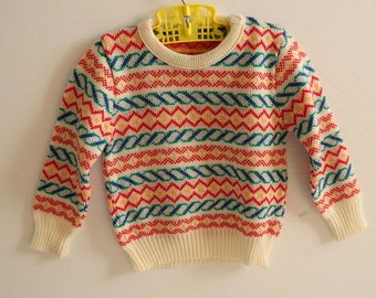 Retro 1970s Colourful Geometrical Knit Sweater Size 2