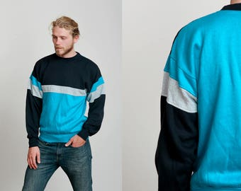 1990s Turquoise, Black and Grey Color Block Sweat Shirt • M