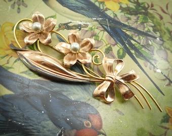 Vintage Van Dell Flower Brooch, 1/20 12K Gold Filled, Faux Pearls, Signed