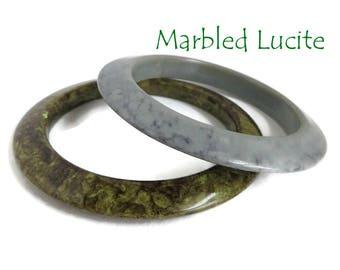 Marbled Lucite Bangles, Vintage Bracelets, Gray, Green Marbled Bracelets, Lucite Bangle Pair, FREE SHIPPING