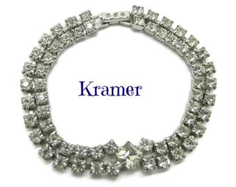 Vintage Rhinestone Tennis Bracelet | Signed Kramer Jewelry | Double Row Rhinestone | Bridal Jewelry