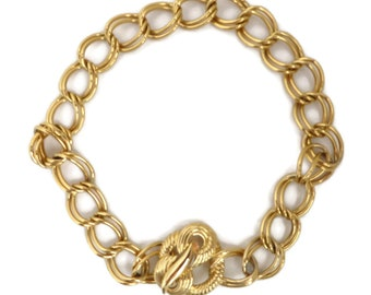 Trifari Gold Tone Chain Link Necklace, Vintage Double Link Choker