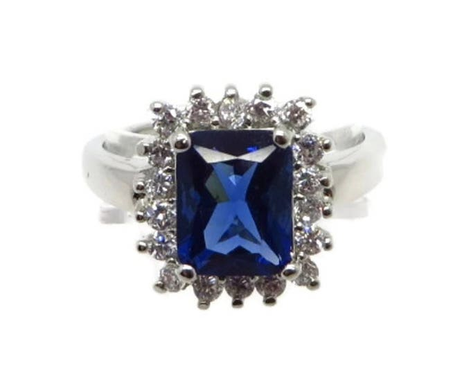 Sapphire CZ Cocktail Ring Vintage FAS Sterling Silver, Blue and White CZ, Dinner Ring Size 8