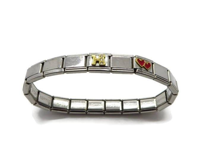 Zoppini Charm Bracelet, Vintage Stainless Steel Italian Stretch Charm Bracelet Gift for Her