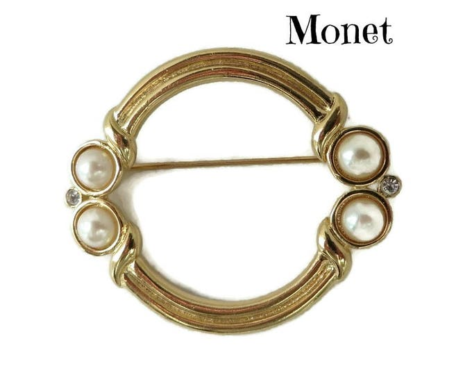 Monet Circle Brooch - Vintage Gold Tone Faux Pearl, Rhinestone Pin, Designer Signed, Gift for Her, Gift Boxed