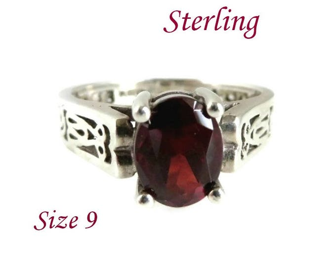 Sterling Silver Garnet Ring - Vintage Faux Garnet Scrolled Silver Wide Band Ring, Size 9, Gift for Her, FREE SHIPPING