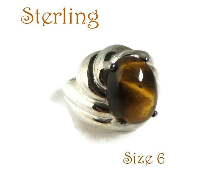 Vintage Tiger Eye Ring - Sterling Silver Cocktail Ring, Size 6, Gift idea, Gift Boxed