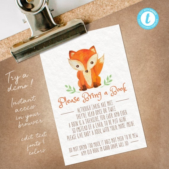 Books For Baby Fox Baby Shower, Bring a Book insert, Fox Bring a Book Card editable INSTANT DOWNLOAD printable at home