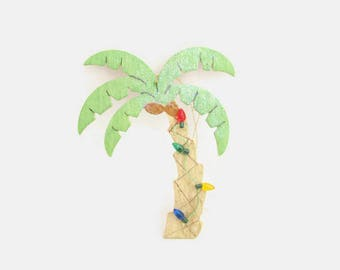 Vintage Wooden Palm Tree Christmas Ornament