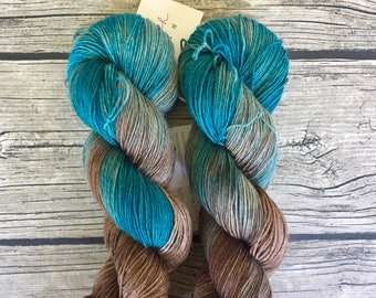 Shark Bait. Hoo Ha Ha. - Hand Dyed Superwash Merino Yak - Hand Dyed Yarn - Fingering /Sock Weight Yarn - Merino Yak Nylon