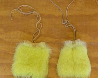 2 Yellow Rabbit Fur & Gold Color Deer Leather Bags