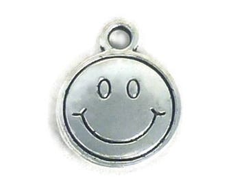 50 Silver Smiley Face Charm Pendant 15x12mm by TIJC SP0491B
