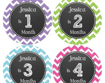 PERSONALIZED Baby Girl Month Stickers Monthly 12 Month Sticker Monthly Baby Stickers Baby Shower Gift Photo Prop Milestone Sticker 512