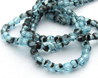 Aqua Tortoise 3mm Facet Round Czech Glass Fire Polished Beads 50pc #907