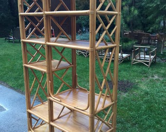 Vintage Bohemian Rattan Eterage/ Large Shelf Display