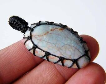 Turquoise Pendant, Tibetan Turquoise Macrame Pendant, Handmade Blue Gemstone Pendant, Hippie Jewelry SH-4928