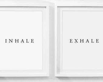 Inhale Exhale Print, Set of 2 Prints, 2 Prints, Printable, Digital Download, Instant Downloadable Art, Download Prints, Download Art