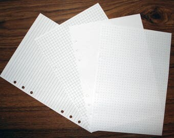 Individual Lined, Grid, Blank or Dot Grid Paper for your A5 or Personal Size Filofax, Kikki K, Paperchase Style 6-ring binders.  (RLGBD)