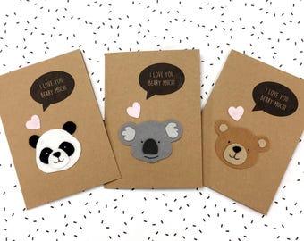 Happy Bearthday Birthday Card - I Love You Beary Much Card - Felt Card - Cute Panda Bear Koala Card - Funny Pun Card - Anniversary Card