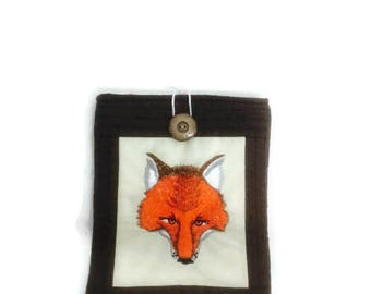 Gadget case, Fox gifts, Ipad mini, gadget sleeve, ipad 2 case, fabric case, tablet cover, gadget cover, kindle case, fox lover gift, orange,
