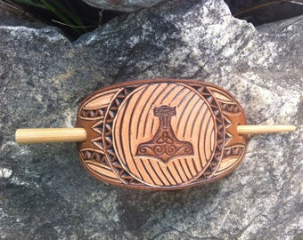Thors hammer tooled and hand carved leather hair barrette