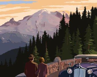Mount Rainier National Park, Washington - Road to Sunrise - Lantern Press Artwork (Art Print - Multiple Sizes Available)
