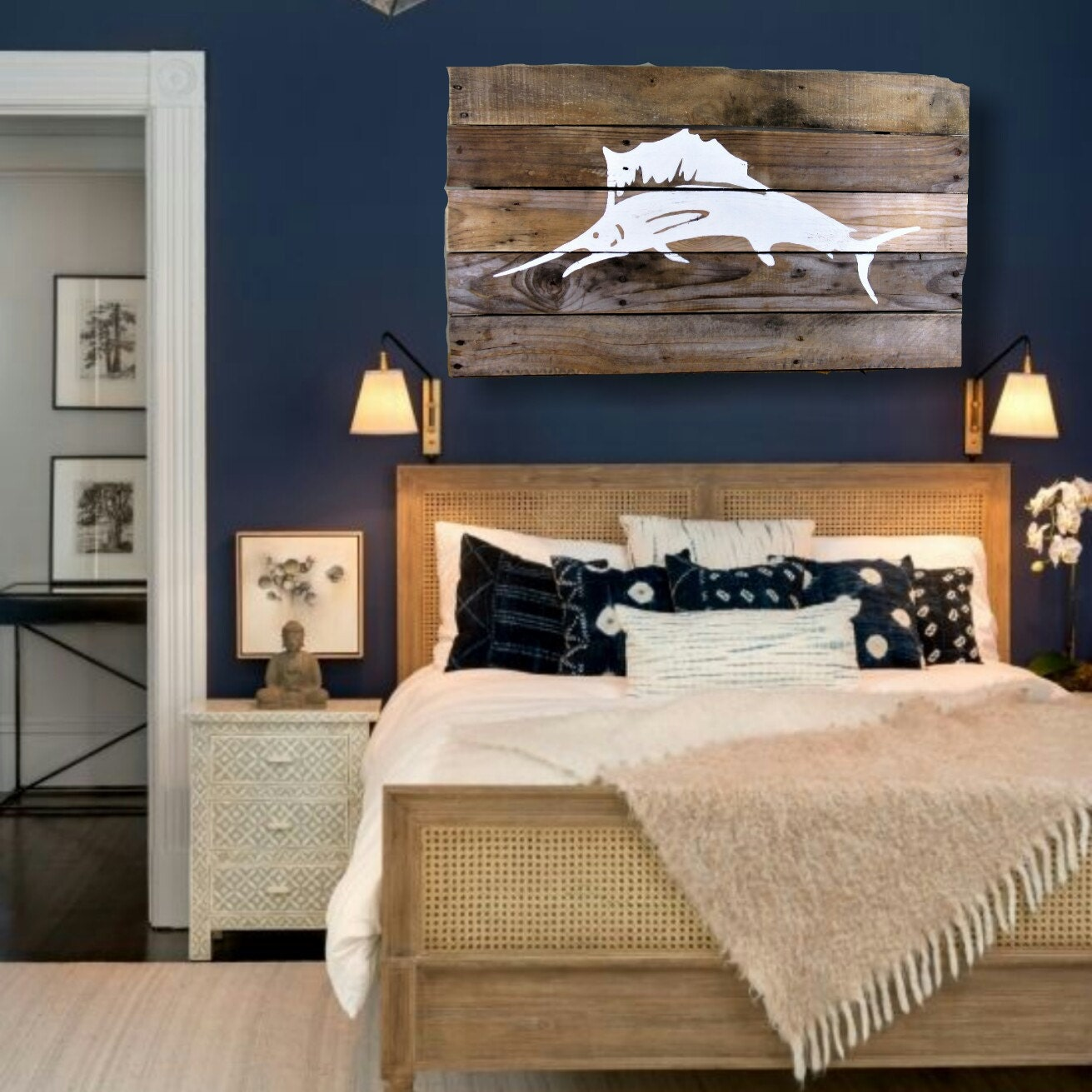 White Marlin Pallet Wall Art Nautical Home Décor Wall Décor